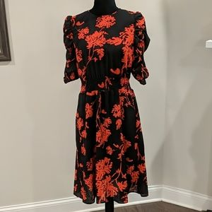 Midi black dress with red florals